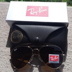 Brand New Brown RayBan Aviators 62mm Never Worn
